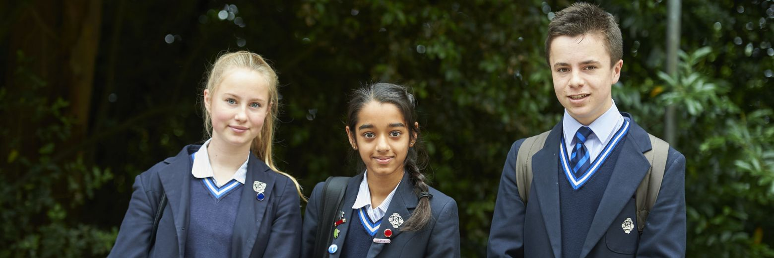 three teenage school students