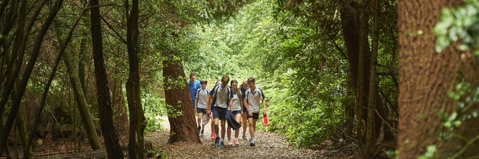 group of teenagers walking through woods